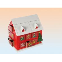 Calendrier de l'Avent, maison chalet en bois de 24 tiroirs