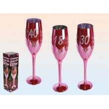 Flûte à champagne rose spéciale anniversaire