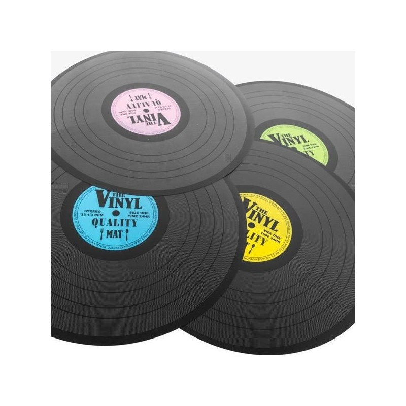 set de table disque vinyl lot de 4 couleurs. Black Bedroom Furniture Sets. Home Design Ideas