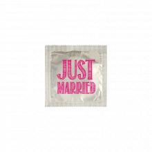 Préservatif humoristique JUST MARRIED lettres roses sur fond argenté