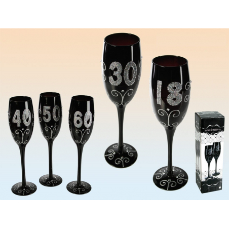 Flûte à champagne noire spécial anniversaire