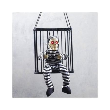 Grand squelette prisonnier animé et sonore en cage