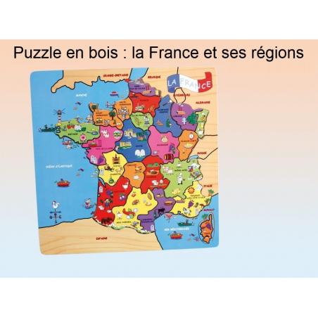 Grand puzzle en bois (40*40 cm) : la France et ses régions