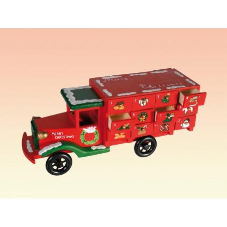 Calendrier de l'Avent -  camion en bois de 24 tiroirs