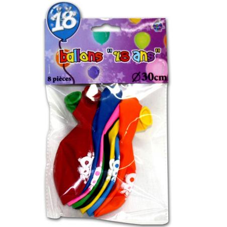 """Lot de 8 ballons """"18 ans"""" de 30 cm"""