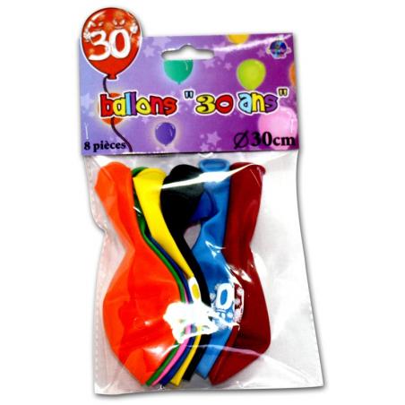 """Lot de 8 ballons """"30 ans"""" de 30 cm"""