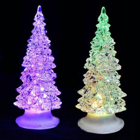Sapin de noël lumineux multicolore à LED en acrylique