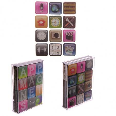 Lot de 12 magnets applications -  aimants pour frigo