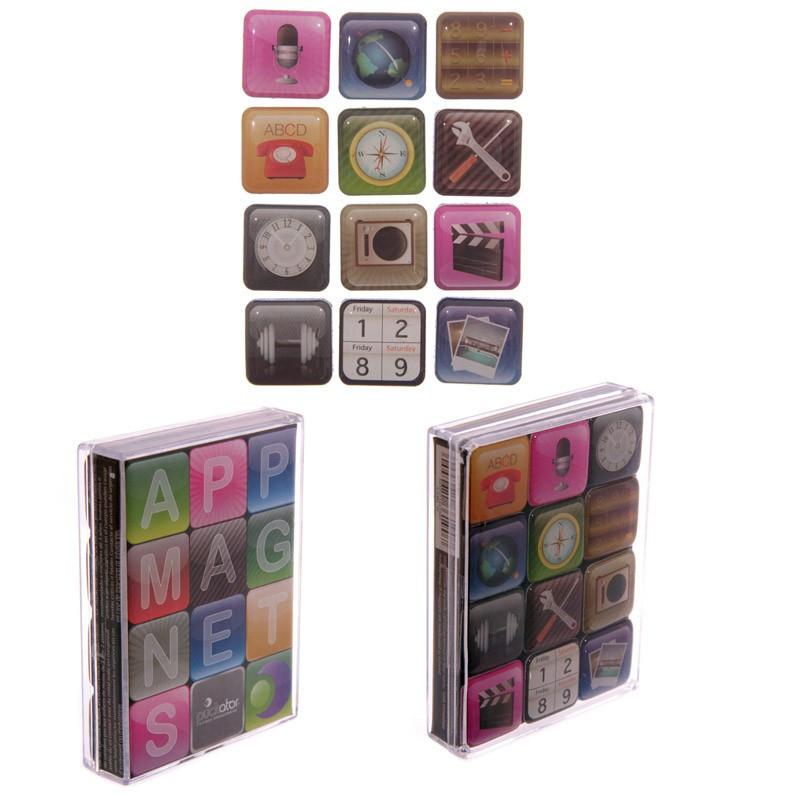 lot de 12 magnets applications aimants pour frigo. Black Bedroom Furniture Sets. Home Design Ideas