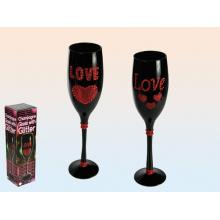 Flûte à champagne noire avec cœur rouge et strass