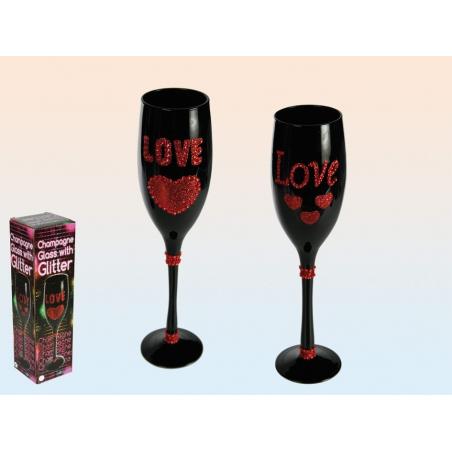 Flûte à champagne noire avec coeur rouge et strass