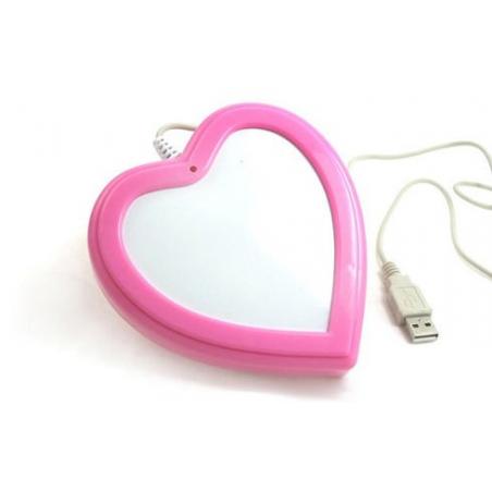 Chauffe tasse USB en forme de coeur rose