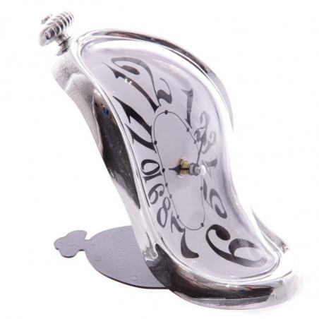 Horloge fondue Salvador Dali cadran argenté