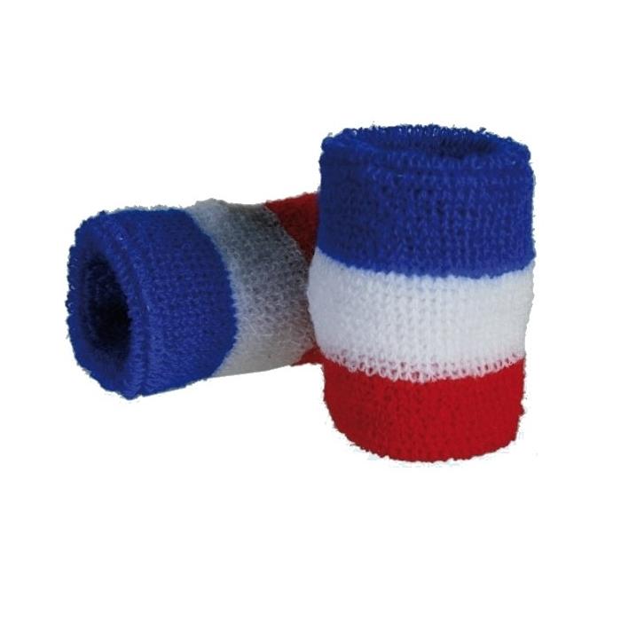 Poignets de tennis, bracelets éponges bleu, blanc et rouge