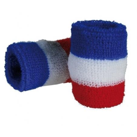 Poignets de tennis -  bracelets éponges bleu -  blanc et rouge