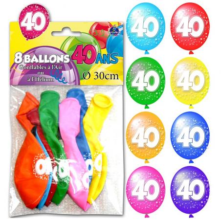 """Lot de 8 ballons """"40 ans"""" de 30 cm"""