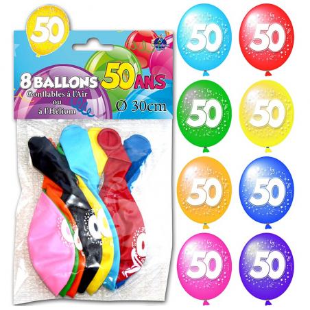 """Lot de 8 ballons """"50 ans"""" de 30 cm"""