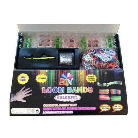 Kit création Loom Bands 600 pièces pour faire des bracelets élastiques