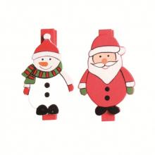Lot de 6 pinces père noël et bonhomme de neige
