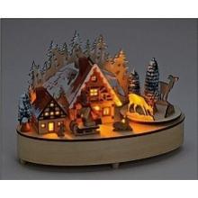 Scène de noël en bois avec lumières et musique