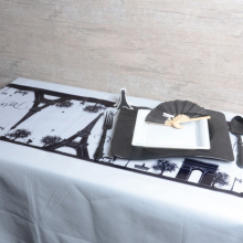 Chemin de table Paris en organza blanc