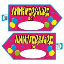 Panneau signalétique anniversaire rose