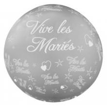Ballon géant gris vive les mariés 1,16 mètre