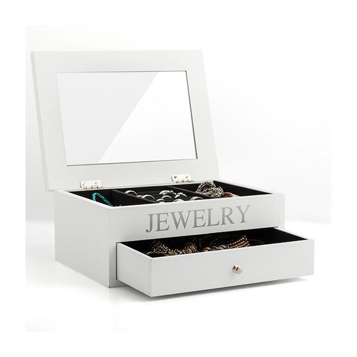 Coffret à bijoux en bois avec rangements, tiroir et miroir