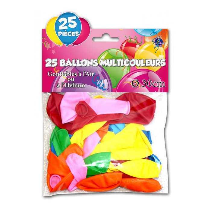 Lot de 25 ballons multicolores