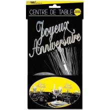 """Centre de table """"Joyeux Anniversaire"""" argenté"""