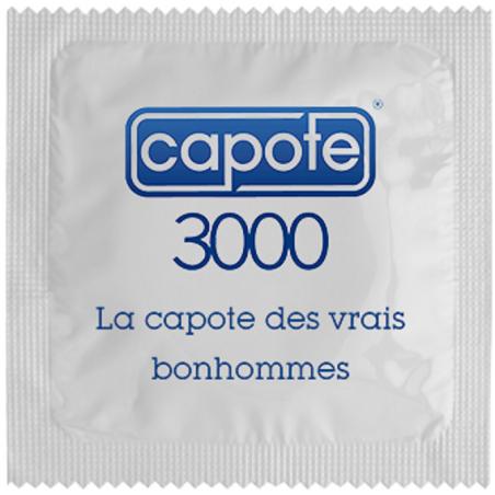 Préservatif humoristique Capote 3000, la capote des vrais bonhommes