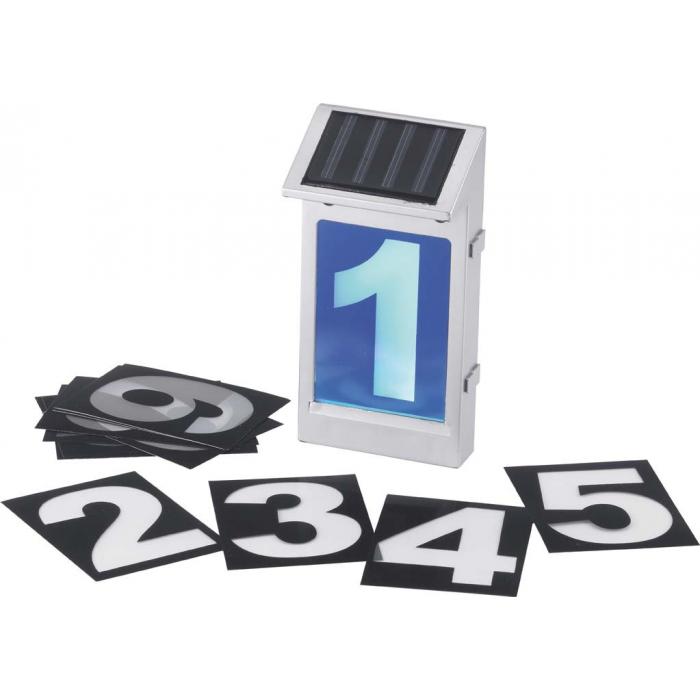 Numéro de maison lumineux solaire argenté