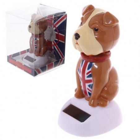 Bulldog Anglais solaire qui hoche la tête