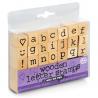 Tampons lettres de l'alphabet en bois (lot de 31 pièces)
