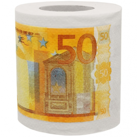 Rouleau de papier toilette billets de 50 euros