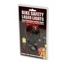 Lampe arrière de vélo avec lasers représentant une piste cyclable
