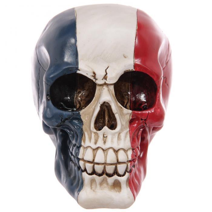 Crâne design drapeau français en résine