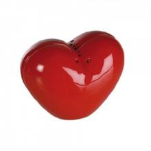 Salière et poivrière rouge en forme de cœur