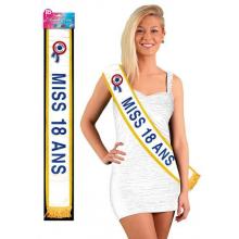 Écharpe de miss 18 ANS - lettrage bleu