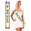 Écharpe de miss 20 ANS - lettrage bleu