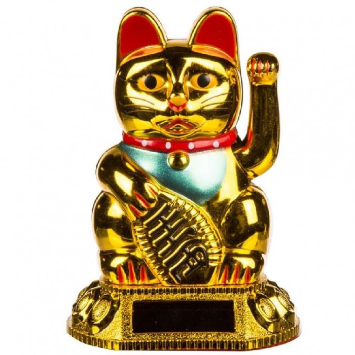 Chat doré porte bonheur solaire