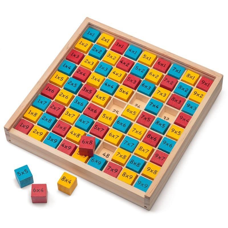 Jeu de tables de multiplication en bois - Table de multiplication jeu ...