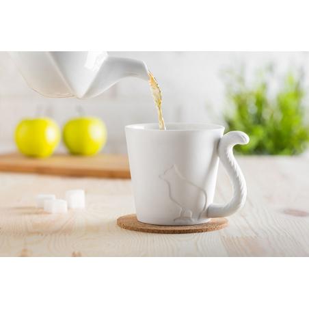 Tasse Chat en porcelaine blanche