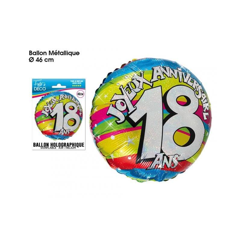 Ballon Multicolore Joyeux Anniversaire 18 Ans De 46 Cm