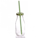 Bouteille en verre avec paille verte