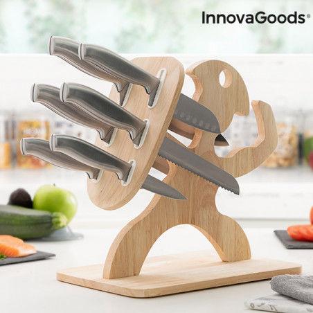 Jeu de couteaux avec support en bois Spartan InnovaGoods 7 Pièces