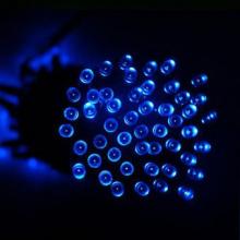 Guirlande solaire bleue 60 leds 7,5 mètres