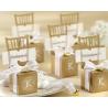 Boite à dragées chaises dorées porte nom