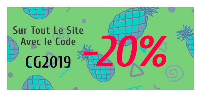 Utilisez le code promo CG2019 pour bénéficier de -20% sur tous les articles du site.